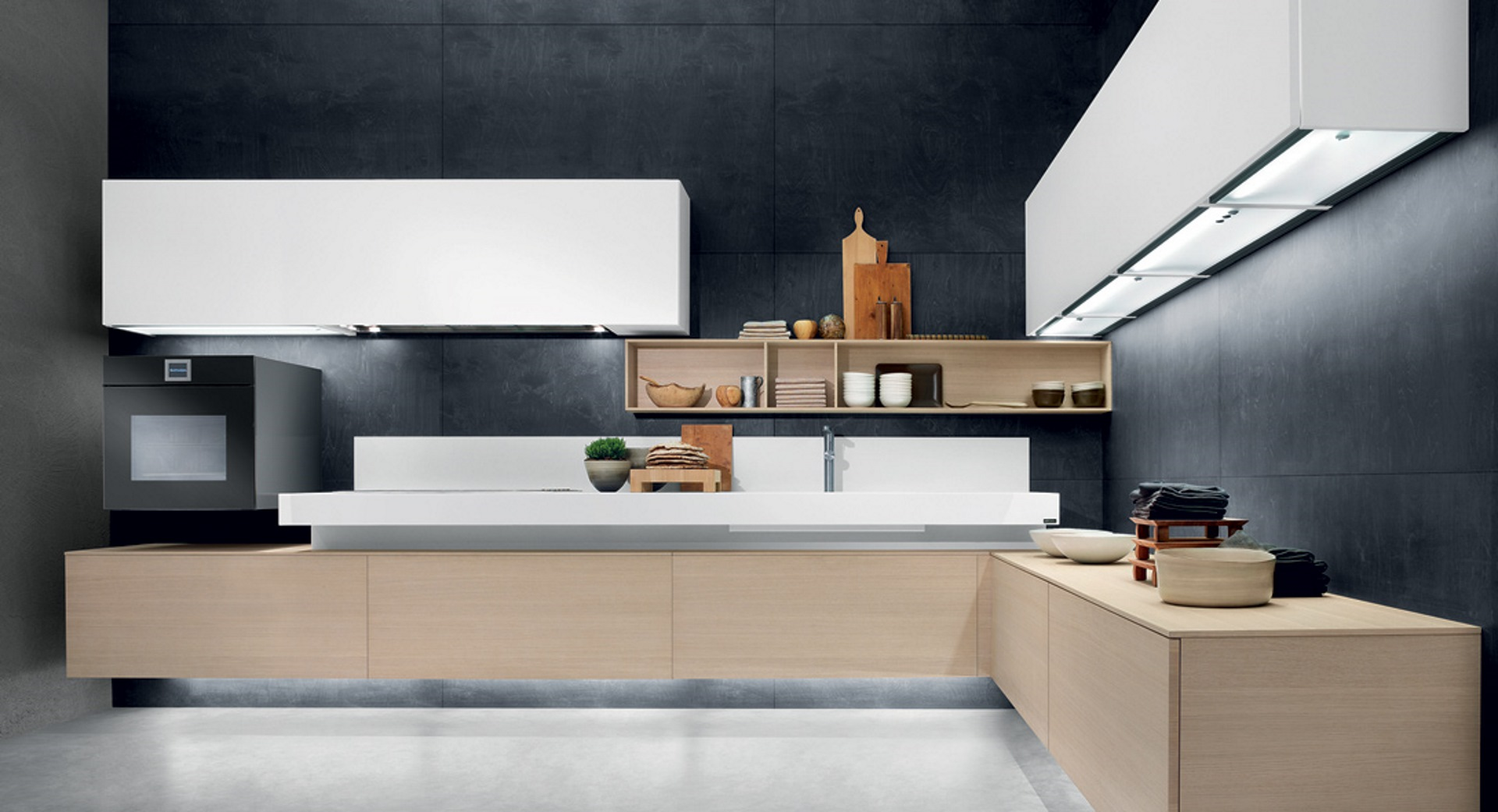 Free cucina moderna con basi ed elementi sospesi cucine composit - Cucina moderna design ...