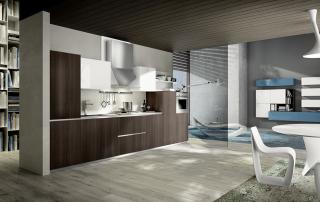 Cucina moderna_Mood-2-ante laminato b.p in rovere termo trattato e Pet bianco lucido, top laminato bianco sp. 2 cm, cappa inox.