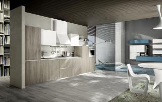 Cucina moderna_Mood-02-finitura laminato b.p.olmo e laminato b.p DQ7 opaco bianco. Top in laminato bianco sp. 2 cm. Finitura cappa opaco bianco.