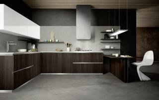 Cucina moderna_Mood-03-Finitura di serie laminato b.p. effetto tranchè finitura amanunda o stratos, legno termizzato, olmo, Evo bianco e DQ7 bianco opaco.
