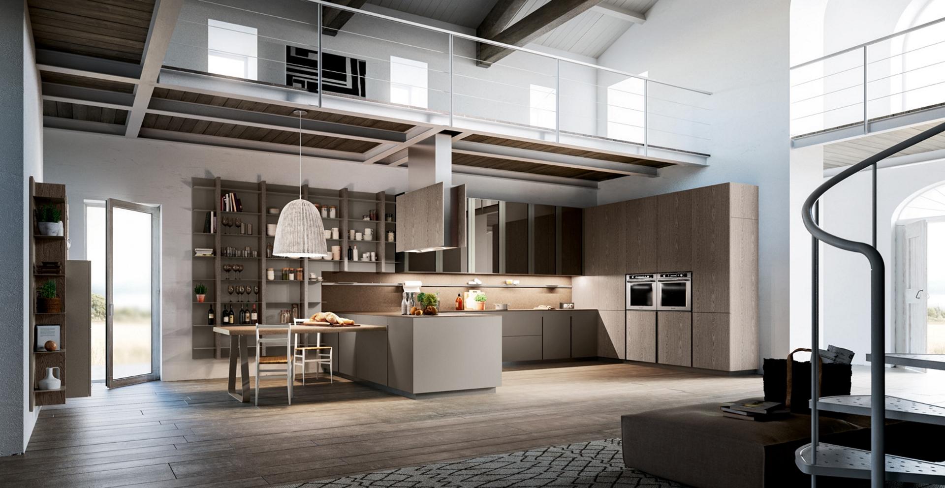 Lounge cucina moderna abbinata al living cucine composit - Cucine living moderne ...