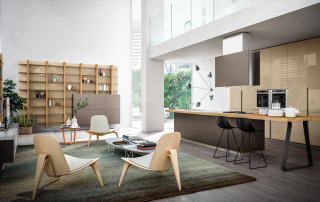 Cucina moderna_Lounge.02_composizione flessibile e razionale. Lo spazio è protagonista assoluto con la necessità di mixare funzionalità ed estetica. Isola progettata nella finitura laccato peltro scuro (LAPS)