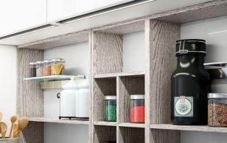 Cucina moderna_Lounge.03_dettaglio sistema modulare di contenitori a giorno