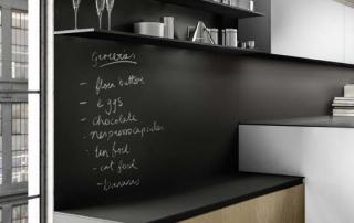 Cucina moderna_Linea.02_dettaglio basi H 36 cm e pensili a giorni in laccato opaco nero