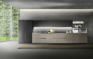 Cucina moderna_Linea.05_composizione in laminato b.p. in rovere verticale grigio, laccato opaco grigio, top inox