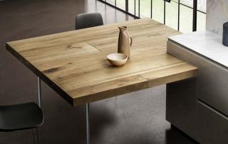 Cucina moderna_Linea.01_dettaglio tavolo penisola in legno Antico