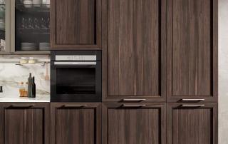 Cucina contemporanea_Marilyn 45.01_dettaglio ante telaio nella versione effetto legno per basi e colonne