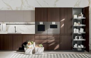 Cucina moderna_Pepper_dettaglio area di contenimento con colonne variamente attrezzate e con elettrodomestici