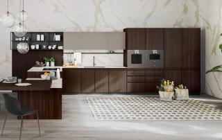 Cucina moderna_Pepper_dettaglio penisola con basi ad altezza ridotta. Piano snack a forte spessore (120x120x6 cm), trasformabile in un tavolo funzionale